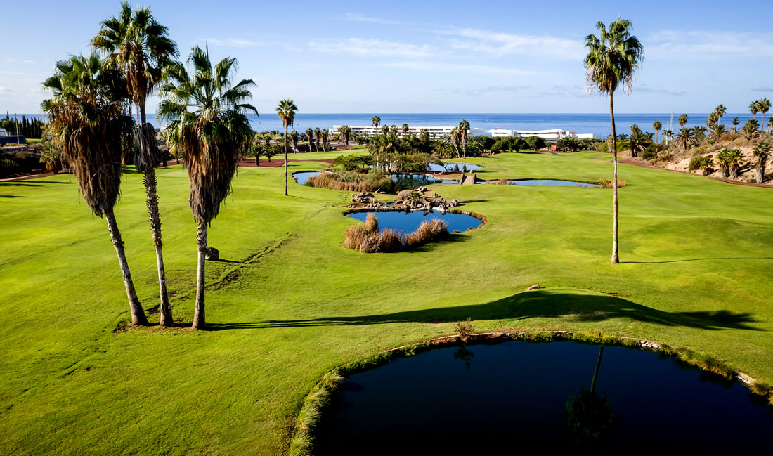 panoramic view of los lagos in golf costa adeje